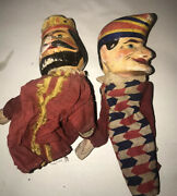 Antique German Carved Wood And Painted Punch And King Puppets