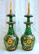 Pr Of Large Green Glass Bottles With Stoppers Hand Painted Andgold Leaf Decoration