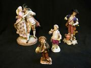 4 Antique German Porcelain Figurines Meissen And Others All As Is