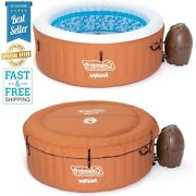 4 Person Inflatable Spa Hot Tub Round Digital Pump 120 Air Jets With Pool Cover