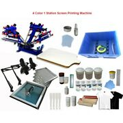 4 Color 1 Station Screen Press Screen Printing Equipment With Exposure Unit