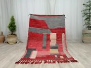 Handmade Moroccan Boujad Vintage Rug 3and0394x4and0398 Abstract Berber Red Tribal Wool Rug
