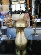 Vintage Islamic Middle Eastern Dallah Coffee Pot Brass Copper As Found