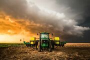 Farm Photography Print - Picture Of Tractor And Storm At Sunset In Kansas