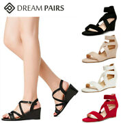 Dream Pairs Women's Low Wedge Sandals Ankle Strap Open Toe Casual Shoes