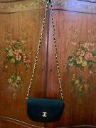 Black Jersey 24kt Cc Turnlock Quilted Half Moon Flap Bag Woc Clutch
