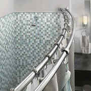 Double Curved Shower Curtain Rod Adjustable Crescent Fixture Chrome