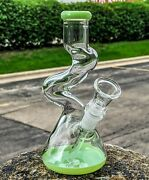 8 Curved Neck Double Zong Bong Glass Water Pipe Hookah Bubbler Slime Greenusa