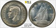 1941 Canada Silver 10c 10 Cent Pcgs Unc Det. Cleaned Gold Shield True View Coin
