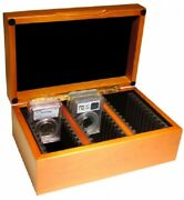 Coin Storage Display Box Wood Case 30 Pcgs/ngc Size Slabs Collection Guardhouse