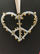 Pottery Barn Jingle Bell Heart Peace Sign Christmas Ornament New In Box