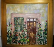 Fredeic Payet 29 X29 Oil On Canvas Pallet Knife Flowers Window Door Home Decor