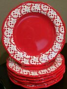 Pioneer Woman Vintage Betsy Red Dinner Plates Set Of 6