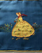 Vintage Boudoir Hand Embroidered Pillow Sham - Woman In Field Of Flowers