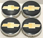 4 Pcs Wheel Emblem Center Chevy Black 63mm / 2.48 Fit Aveo Camaro Malibu