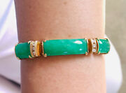 18k Solid Yellow Gold Figaro Link Bracelet With Natural Jadeanddiamond 26.46grams