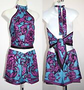 Versace Baroque Flower Print Silk Tie Up Top And Shorts Set Sz Uni Fits Xs To M