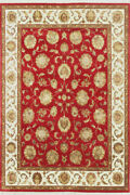 Indian Hand Knotted Rugs Floral Antique Big Carpet 8x10 Red Beige Area Rug