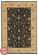 Hand Knotted Wool Silk Carpet Black Gold And039arandoland039 Indian Handmade Area Rug 9x12