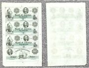 1860and039s 5/10 Bank Of America Providence Rhode Island 4 Note Uncut Sheet 001