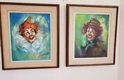 Two Mid Century Signed Oil On Canvas Clown Paintings By Monsieur L. Deschamps
