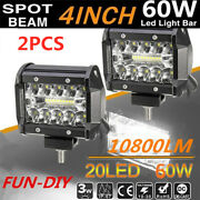 2x 4 Inch 60w Led Work Light Spot Flood Combo Fog Driving For Jeep Ford Offroad