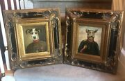Set 2 - Oil Paintings On Canvas, Dogs Beagle Military Soldiers Gold Frame 21x18