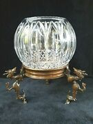 Cut Crystal Globe Vase 9 Inch On Vintage Bronze Dragon Stand 12 Inches Total
