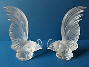 A Pair Of Lalique Coq Nain Figurines Both Signed Lalique France + Labels