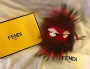 Fendi Real Fur Red Monster Pompom Keychain With Crystal Eyes