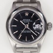 Rolex Womenand039s Stainless Steel Opd Automatic Watch W/ Black Dial 79160 1999