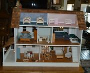 Very Nice Large Doll House With Electricity And Furnishings 40 X 30 X 21 Inches