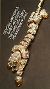 Estate Exquisite Gold Articulating Panther Brooch Faceted Austrian Crystals