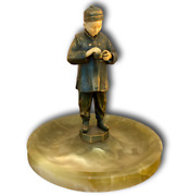 Large 19th Century Bronze And Ivory Sculpture - Chinese Boy With Large Onyx Base