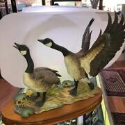 Canada Geese Heading South Hutschenreuther Figurine Statue W Wooden Base No Box