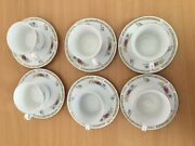 Vintage Chinese Liling Yungshen Fine China 6 Tea Cup And Saucer Sets Rose Flower