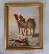 Intriguing 19th C Orientalist Painting Of An Arab Praying W 2 Camels Signed Cpd