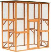 71 X 39 X 71 Large Wooden Outdoor Cat Enclosure Catio Cage With 6 Platforms
