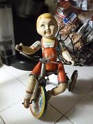 Unique Art Mfg. Kiddy Cyclist Tin Toy Wind Up As Is Not Working