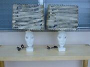 Pair Of Cool Comedy And Tragedy Like Plaster Face Mask Lamps With 50's Shades -p