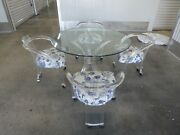 Fab 70and039s Lucite And Glass Tusk Round Dining Table W 4 Curvaceous Lucite Chairs