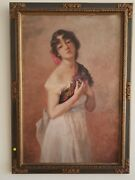 Seductive 1919 Painting Of A Yearning Lolita Holding Flowers Signature Illegible