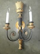 Single Neoclassical Italian Palladio Hand Carved Wood Quiver Of Arrow Sconce