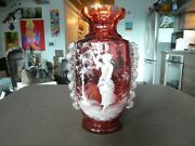 Large 19th C 13 Inch Tall Mary Gregory Cranberry Art Glass Vase