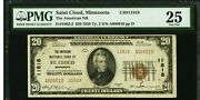 Pop Of 1 Rare St. Cloud Mn 20 1929 Type 2 National Banknote Low 2 Digit Serial
