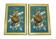Two Seltene Framed Pictures With Glass Beading France About 1900