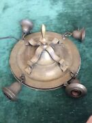 Brass Arts And Crafts Period Flush Mount Four Light Fixture