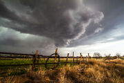 Western Photography Print - Picture Of Storm Over Barbed Wire Fence In Texas