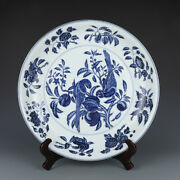 16.3 Fine Old Chinese Antique Porcelain Xuande Blue White Parrot Fruit Plates