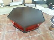 Superb Angelo Donghia Octagonal Black And Red Lacquer Coffee Table